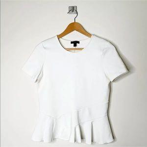 J Crew Structured Flutter Hem Peplum T Shirt Small